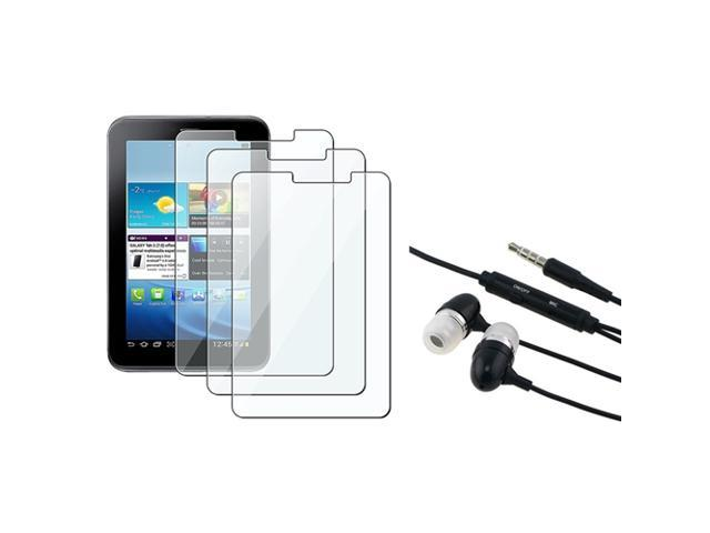 eForCity Black Universal 3.5mm In-Ear Stereo Headset w/ On-off & Mic+3-Pack Reusable Screen Protector Compatible With Samsung? Galaxy Tab 2 P3100 ...