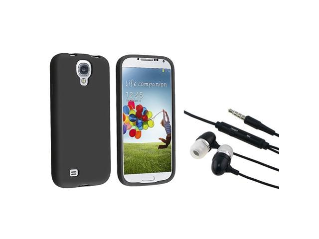eForCity Black Silicone Skin Cover Case And Black In-ear Stereo Headsets w/on-off & Mic Compatible With Samsung© Galaxy S IV / S4/ I9500/ I9505