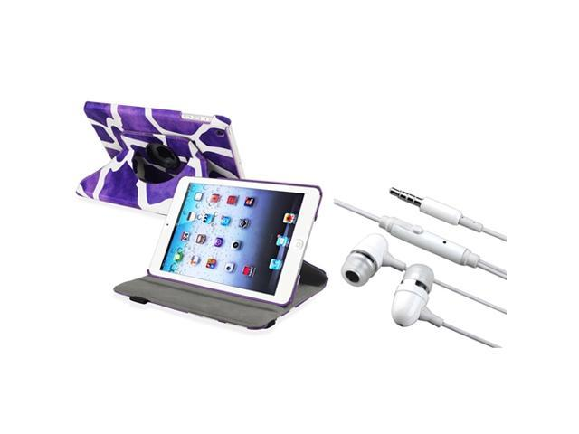 eForCity Purple Giraffe 360 Rotating Leather Case Cover+White In-ear(w/on-off)Stereo Headsets Compatible With Apple iPad Mini 1 / Apple iPad Mini ...