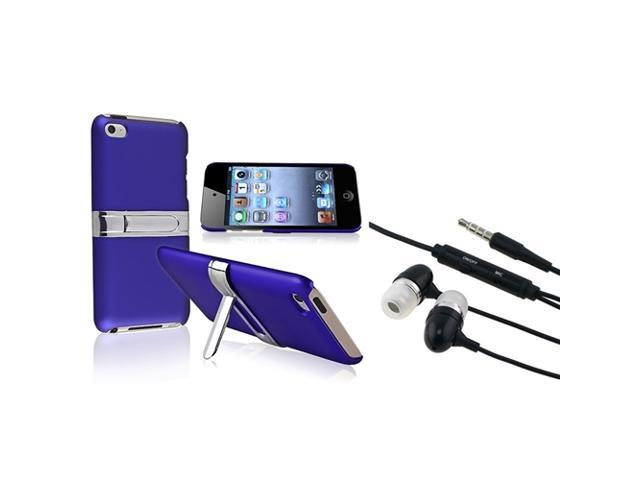 eForCity Black Universal 3.5mm In-Ear Stereo Headset w/ On-off & Mic+Blue with Chrome Stand Rear Snap-on Case Compatible With Apple? iPod Touch ...