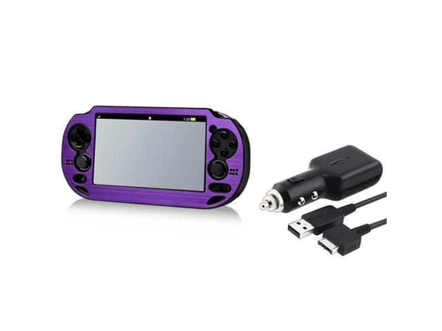 Purple Aluminum Case + Car Charger With USB Cable for Sony PlayStation Vita
