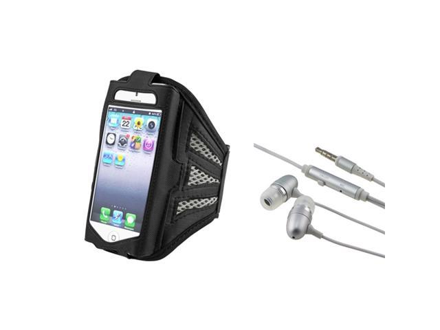 eForCity Black / Silver ArmBand + Silver In-ear (w/ on-off) Stereo Headsets for Apple iPhone 5 / 5C / 5S / iPod Touch 5th Gen ...
