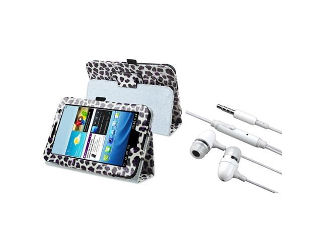 eForCity White/Purple Leopard Leather Case Stand+White In-ear(w/on-off)Stereo Headsets Compatible With Samsung© Galaxy Tab 2 7.0