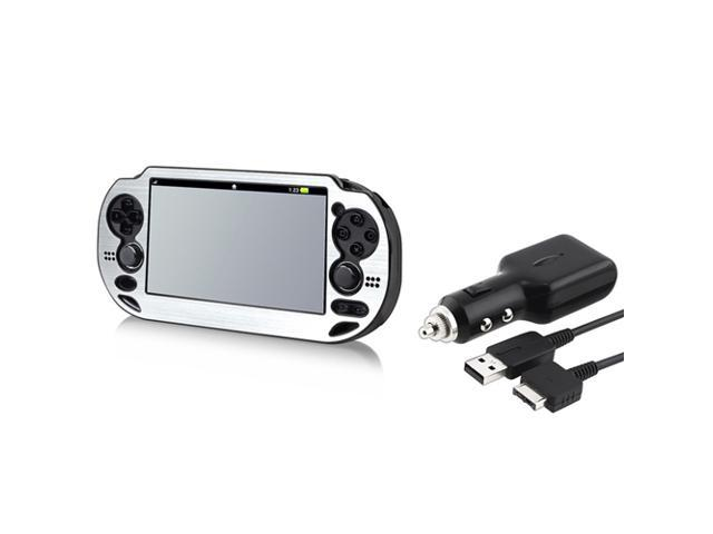 Silver Aluminum Case + Car Charger With USB Cable for Sony PlayStation Vita