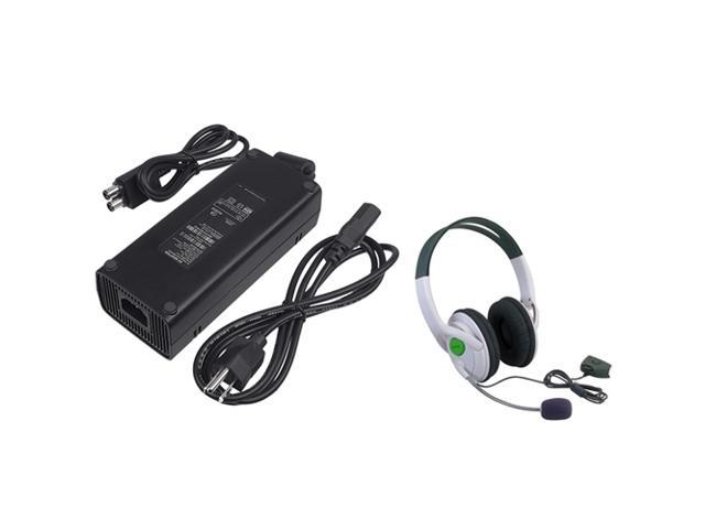 eForCity AC Power Adapter + Headset w/ Mic compatible with Microsoft XBox 360 Slim
