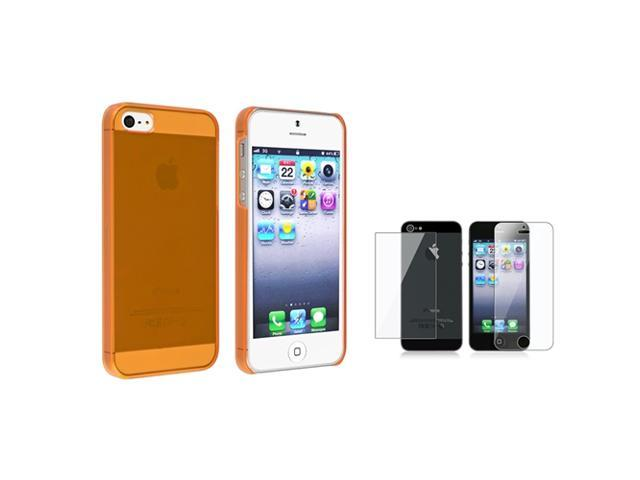 eForCity Clear Orange Slim Hard Case + Reusable Front & Back Screen Protector Compatible With Apple® iPhone 5 / 5S