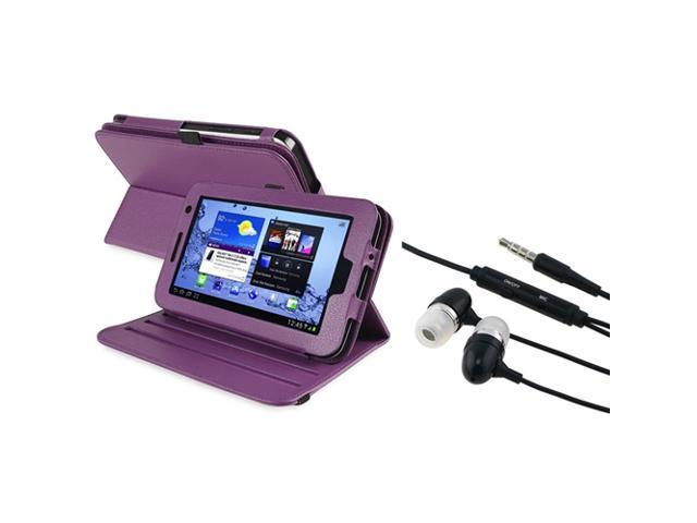 eForCity Purple 360 Rotating Leather Case+Black(on-off)Stereo Headsets Compatible With Samsung© Galaxy Tab 2 7.0 P3100/ P3110/ P3113