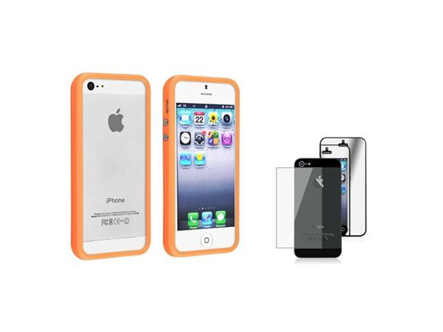 eForCity Orange Aluminum Button Cover Bumper TPU Case + Mirror Front & Back Screen Protector Set compatible with Apple® iPhone 5 / 5S