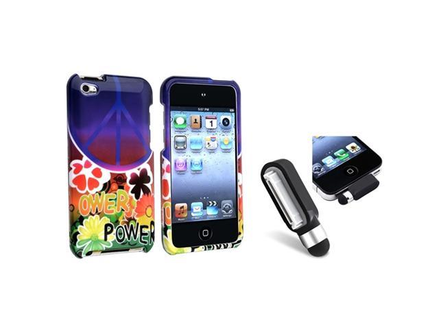 eForCity Peace Sign Flower Case Cover + Black Stylus w/ Dust Cap For iPod touch? 4 Gen