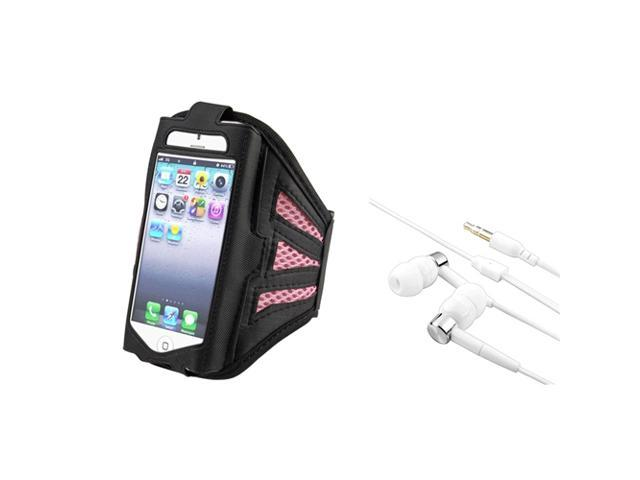 eForCity Black/Pink Deluxe ArmBand + White/Silver Version 2 Universal 3.5mm In-Ear Stereo Headset For iPod Touch 5 G 5th Gen