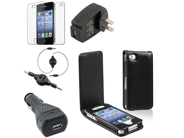 eForCity Black Leather Case + 2-Piece Reusable Screen Protector + Audio Cable + Car + Travel Charger Adapter compatible with Apple iPhone 4 / 4S ...