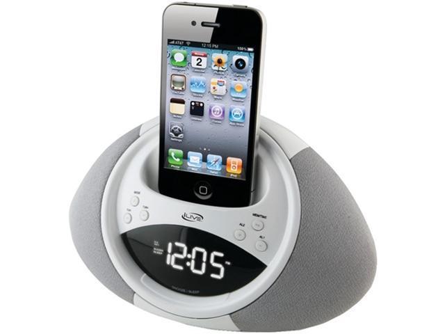 iLive White Dual Alarm Clock Radio for iPod and iPhone ICP122W
