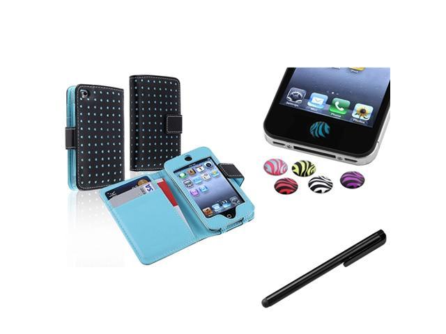 eForCity Leather Blue Dot Wallet Case Cover + Home Button Sticker + Black Stylus For iPod Touch 4 G