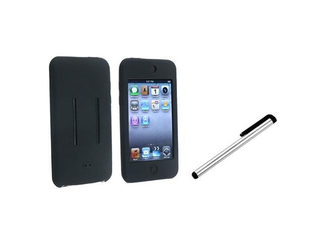 eForCity Black Silicone Gel Soft Cover Skin Case + Silver Pen Stylus For iPod Touch 2 3 G