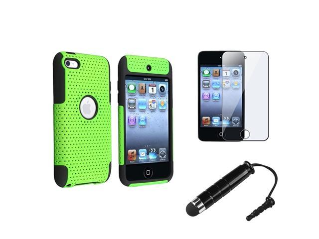 eForCity Black Green Meshed Hard Case Cover + Screen Protector + Stylus For iPod Touch 4 4th Gen 4G