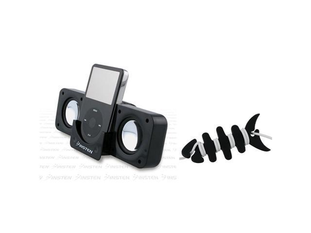 eForCity Black Foldable Dock Speaker + Fishbone Wrap For iPod Touch 4 Shuffle Nano Video