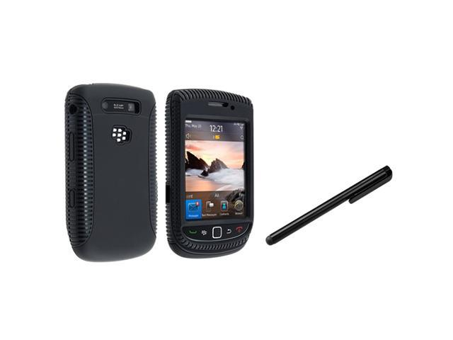 eForCity Black TPU/Hard Hybrid Case Cover + Black LCD Touch Stylus For BlackBerry Torch 9800/9810