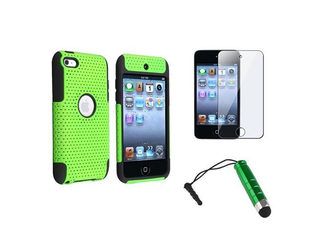 eForCity Black/Green Meshed Hard Case Cover + LCD Protector + Stylus For iPod Touch 4 4G 4th Gen