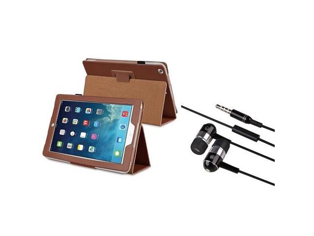 eForCity Brown Stand Leather Case + Black Chrome Silver In-ear Stereo (On-off & Mic) 3.5mm Stereo Headsets Compatible With Apple? iPad Air / iPad ...
