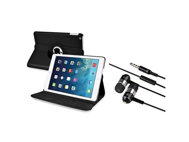 eForCity Black 360 Swivel Leather Case + Black Chrome Silver In-ear Stereo (On-off & Mic) 3.5mm Stereo Headsets Compatible With Apple? iPad Air / ...