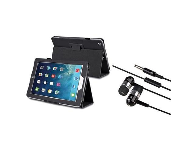 eForCity Black Stand Leather Case + Black Chrome Silver In-ear (w/on-off & Mic) Stereo Headsets Compatible With Apple® iPad Air / iPad 5