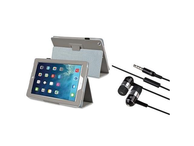 eForCity Grey Stand Leather Case + Black Chrome Silver In-ear Stereo (On-off & Mic) 3.5mm Stereo Headsets Compatible With Apple® iPad Air / iPad ...