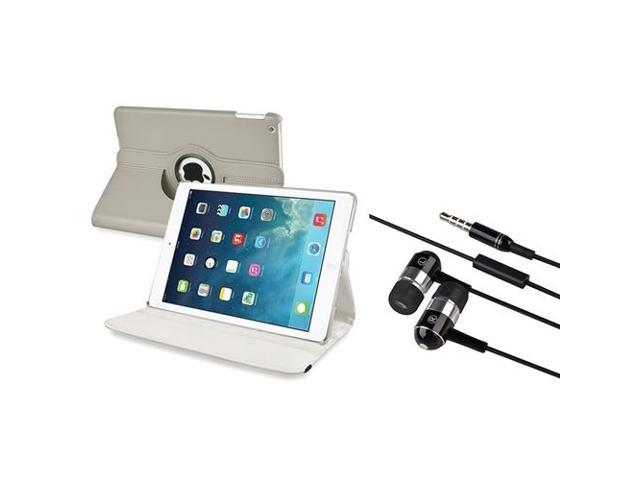 eForCity Grey 360 Swivel Leather Case + Black Chrome Silver In-ear Stereo (On-off & Mic) 3.5mm Stereo Headsets Compatible With Apple® iPad Air / ...