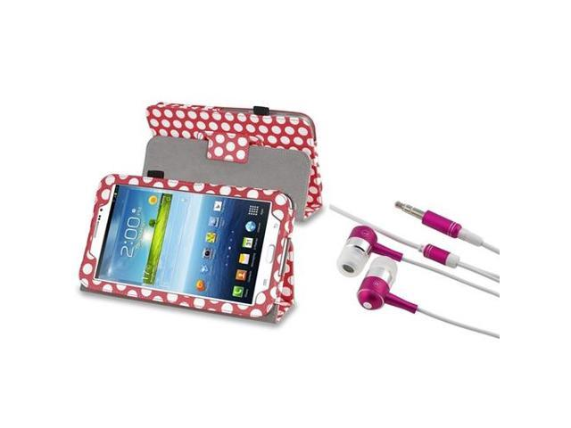 eForCity Pink/ White Dot Stand Leather Case+Pink / Silver In-Ear Stereo Headsets Compatible With Samsung© Galaxy Tab 3 7.0 P3200