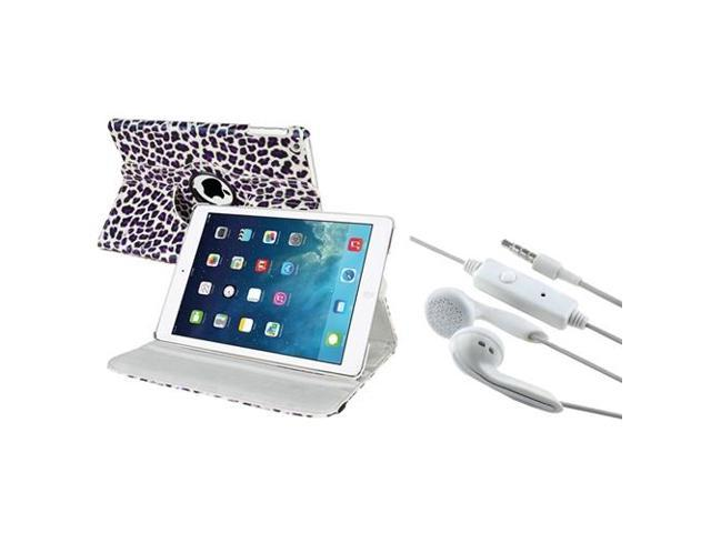 eForCity Purple Leopard 360-degree Swivel Stand Leather Case+White In-ear Stereo 3.5mm Stereo Headsets Compatible With iPad Air