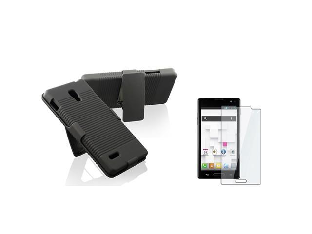 eForCity Black Swivel Holster with Stand Case with FREE Reusable Screen Protector Compatible with LG Optimus L9 P769