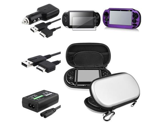 eForCity Silver EVA Case Cover + Purple Aluminum Case Cover + Guard + USB Cable + Car Charger + Adapter Compatible With PS Vita