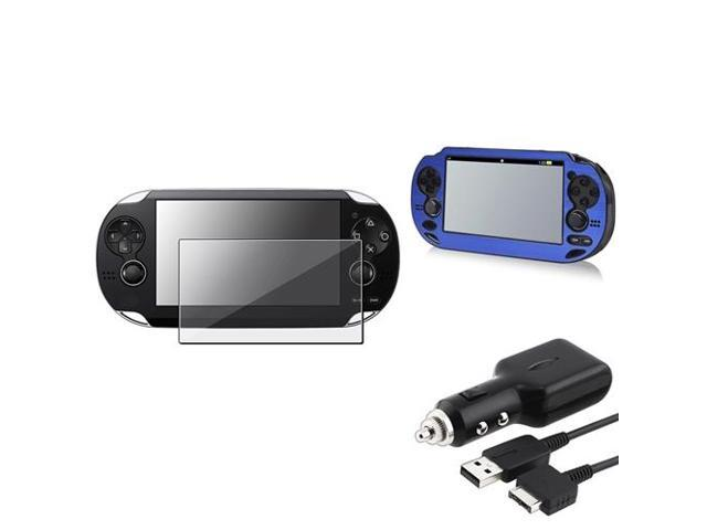 eForCity Blue Aluminum Case Cover + Screen Protector + Car Charger With USB Compatible With Sony PS Vita