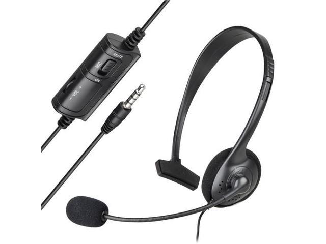 Over the Head Handsfree Wired Mono Gaming Headset with Boom Microphone compatible with Sony PlayStation 4 (PS4 ), Black