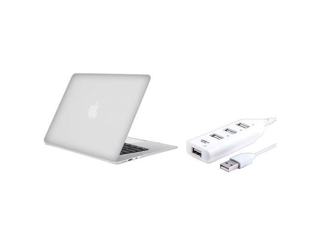 Clear Snap-in Rubber Coated Case + White USB Hub compatible with Apple MacBook Air 13-inch