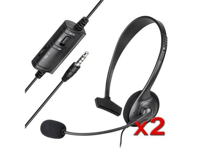 eForCity 2-Pack Black Mono Headset with Microphone Compatible with Sony PlayStation 4 (PS4 )