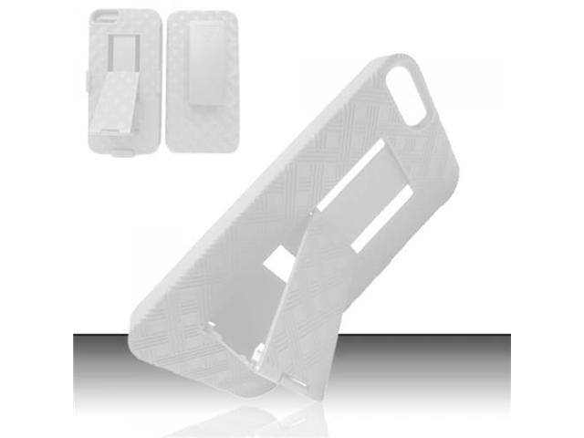 BJ For Apple iPhone 5 Rubberized Holster Combo Cover w/ Sliding StanD White