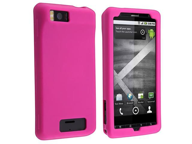 eForCity Compatible With Motorola Droid X Hot Pink Soft Silicone Skin With Car Charger (Micro USB)