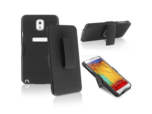 eForCity Black Swivel Holster with Stand Case with 1 Car Charger Compatible with Samsung© N9000 Galaxy Note 3