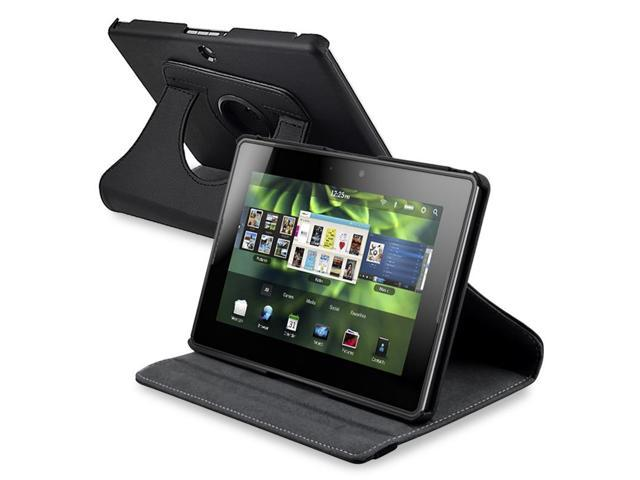 Black 360 rotating Leather Case + Car Charger for BlackBerry Playbook