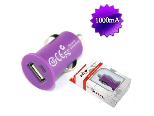 BJ USB Universal Car Charger Adapter 1,000 mAH w/ Packaging - Purple CCZ