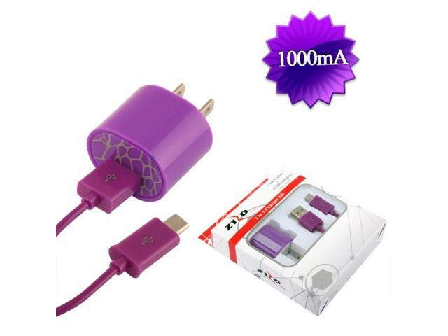 BJ USB Universal Travel / Home Charger Adapter 1,000 mAH & Micro USB Data Cable w/ Packaging - Purple 2IN1-TCZ