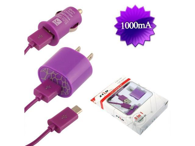 BJ USB Universal Car & Home Charger Adapter 1,000 mAH & Micro USB Data Cable w/ Packaging - Purple 3in1 Micro