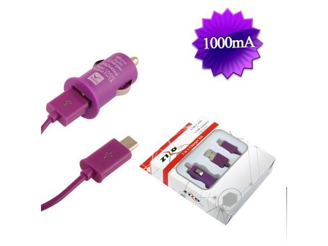 BJ USB Universal Car Charger Adapter 1,000 mAH & Micro USB Data Cable w/ Packaging - Purple 2IN1-CCZ