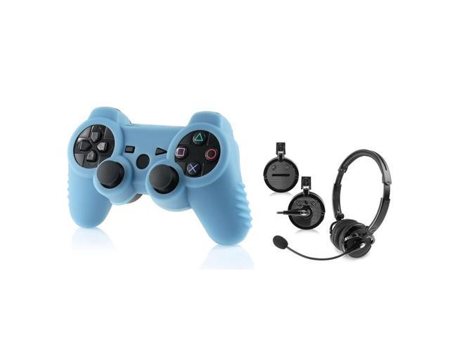 eForCity 2-Pack Black Bluetooth Headset with FREE 2-Pack Blue PS3 Controller Silicone Skin Case Compatible with Sony PlayStation 3 (PS3)