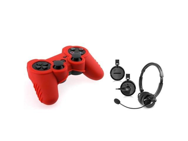 eForCity 2-Pack Black Bluetooth Headset with FREE 2-Pack Red PS3 Controller Silicone Skin Case Compatible with Sony PlayStation 3 (PS3)