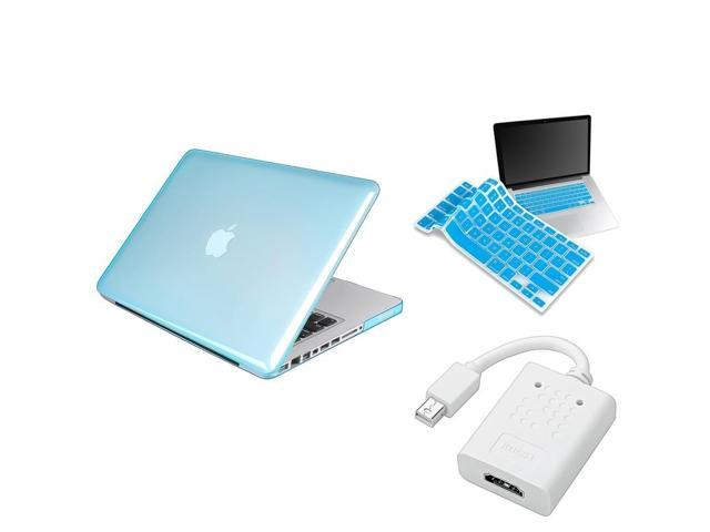 eForCity 3 Accessory Sky Blue Crystal Case Cover + Mini DP HDMI Adapter + KB For MacBook Pro 13