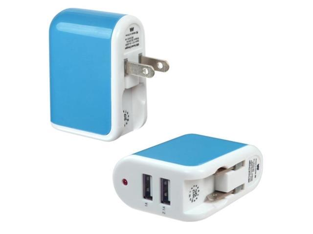 MYBAT Blue Travel Charger Adapter(with Dual USB output)(2.1A)(with Package)