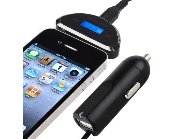 eForCity 3.5mm FM Transmitter with Car Charger For Apple iPhone 6, Black