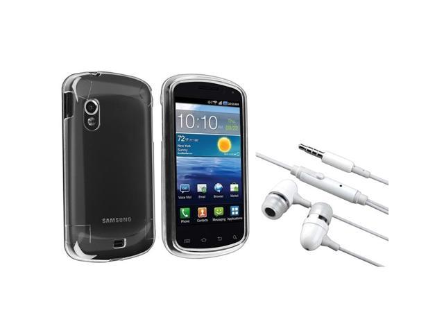 eForCity Clear Snap-On Crystal Hard Case + White In-Ear (W/On-Off) Stereo Headsets Compatible With Samsung© Stratosphere Sch-I405