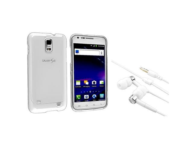 eForCity Clear Snap-On Crystal Case + 1 White In-Ear (W/On-Off) Stereo Headsets Compatible With Samsung© Skyrocket I727